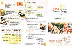 Hoi Sushi Takeout Menu Side 1